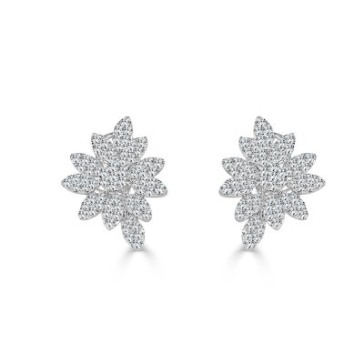 SE10123AW2 - BOVA SIGNATURE -18K WHITE GOLD DIAMOND D4.19CT FLOWER EARRINGS - SE10123A W2