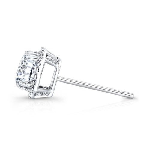 fm27621 18w profile - 18K WHITE GOLD SQUARE DIAMOND HALO STUD EARRINGS FM27621-18W
