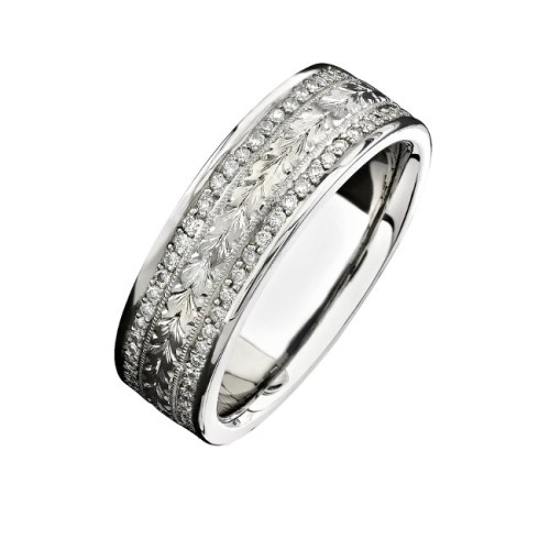 14K WHITE GOLD HAND ENGRAVED DIAMOND MENS BAND NK15384 W - 14K WHITE GOLD HAND ENGRAVED DIAMOND MEN'S BAND NK15384-W