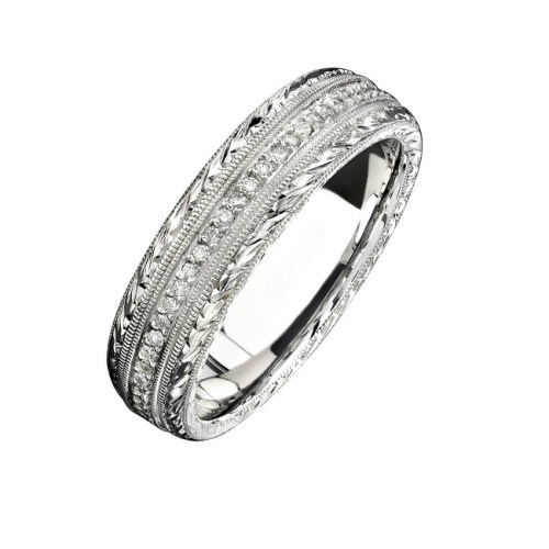 14K WHITE GOLD HAND ENGRAVED PAVE DIAMOND MENS BAND NK15387 W - 14K WHITE GOLD HAND ENGRAVED PAVE DIAMOND MEN'S BAND NK15387-W