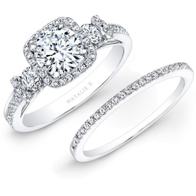 14K WHITE GOLD SQUARE HALO WHITE DIAMOND BRIDAL SET NK25537WE W - 14K WHITE GOLD SQUARE HALO WHITE DIAMOND BRIDAL SET NK25537WE-W