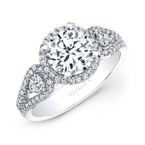 14K WHITE GOLD WHITE DIAMOND HALO ENGAGEMENT RING WITH PEAR SHAPED SIDE STONES NK25435 W - 14K WHITE GOLD WHITE DIAMOND HALO ENGAGEMENT RING WITH PEAR SHAPED SIDE STONES NK25435-W