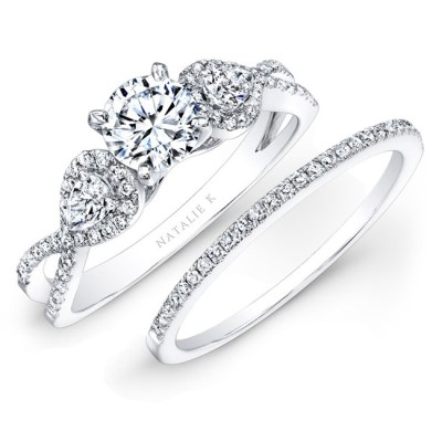 14K WHITE GOLD WHITE DIAMOND TWISTED SHANK BRIDAL SET WITH PEAR SHAPED SIDE STONES NK25434WE W - 14K WHITE GOLD WHITE DIAMOND TWISTED SHANK BRIDAL SET WITH PEAR SHAPED SIDE STONES NK25434WE-W