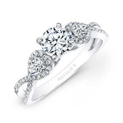 14K WHITE GOLD WHITE DIAMOND TWISTED SHANK ENGAGEMENT RING WITH PEAR SHAPED SIDE STONES NK25434ENG W - 14K WHITE GOLD WHITE DIAMOND TWISTED SHANK ENGAGEMENT RING WITH PEAR SHAPED SIDE STONES NK25434ENG-W