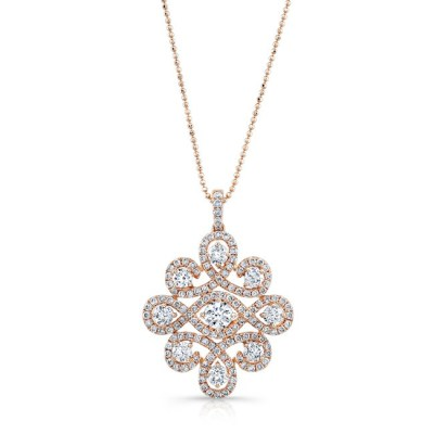 18K ROSE GOLD WHITE DIAMOND PENDANT FM31343 18R - 18K ROSE GOLD WHITE DIAMOND PENDANT FM31343-18R