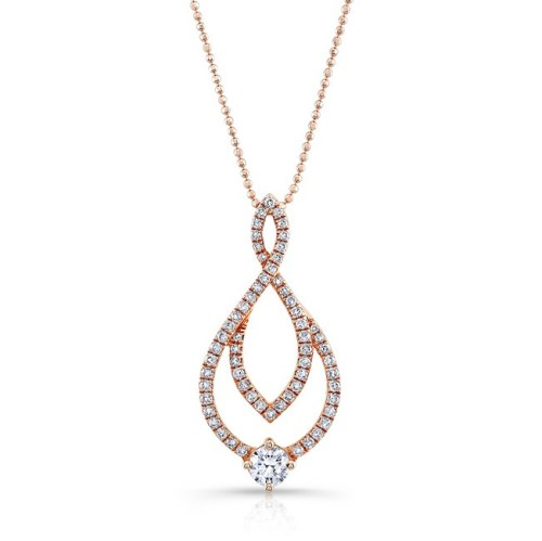 18K ROSE GOLD WHITE DIAMOND ROUND CENTER MARQUISE FRAME PENDANT FM29018 18R - 18K ROSE GOLD WHITE DIAMOND ROUND CENTER MARQUISE FRAME PENDANT FM29018-18R