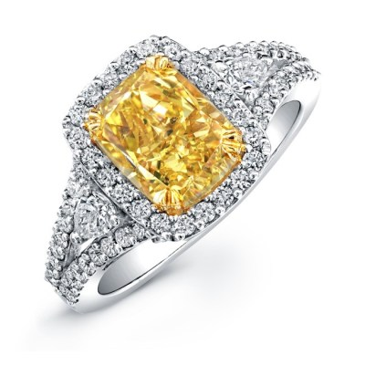 18K WHITE AND YELLOW GOLD CUSHION CUT FANCY YELLOW DIAMOND ENGAGEMENT RING NK20895FY WY - 18K WHITE AND YELLOW GOLD CUSHION CUT FANCY YELLOW DIAMOND ENGAGEMENT RING NK20895FY-WY