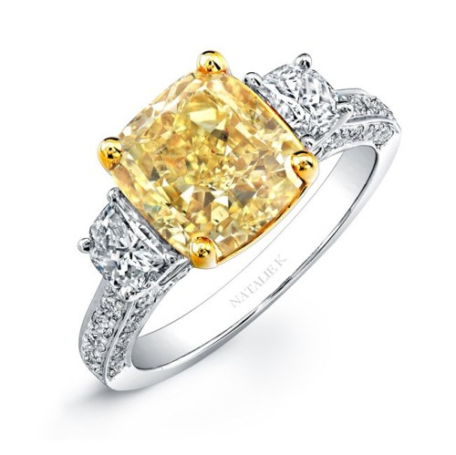 18K WHITE AND YELLOW GOLD CUSHION FANCY YELLOW DIAMOND ENGAGEMENT RING NK24370FY WY - 18K WHITE AND YELLOW GOLD CUSHION FANCY YELLOW DIAMOND ENGAGEMENT RING NK24370FY-WY