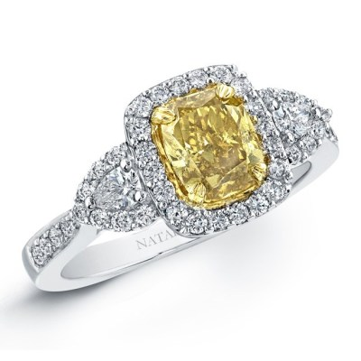 18K WHITE AND YELLOW GOLD FANCY YELLOW CUSHION DIAMOND ENGAGEMENT RING NK20889FY WY 2 - 18K WHITE AND YELLOW GOLD FANCY YELLOW CUSHION DIAMOND ENGAGEMENT RING NK20889FY-WY