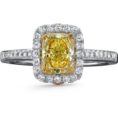 18K WHITE AND YELLOW GOLD FANCY YELLOW CUSHION DIAMOND RING NK18595FY WY - 18K WHITE AND YELLOW GOLD FANCY YELLOW CUSHION DIAMOND RING NK18595FY-WY