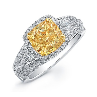 18K WHITE AND YELLOW GOLD FANCY YELLOW CUSHION DIAMOND RING NK20599FY WY - 18K WHITE AND YELLOW GOLD FANCY YELLOW CUSHION DIAMOND RING NK20599FY-WY