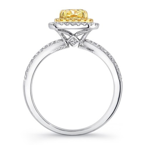 18K WHITE AND YELLOW GOLD YELLOW DIAMOND CENTER AND HALO ENGAGEMENT RING FM30887FY 18WY 1 - 18K WHITE AND YELLOW GOLD YELLOW DIAMOND CENTER AND HALO ENGAGEMENT RING FM30887FY-18WY