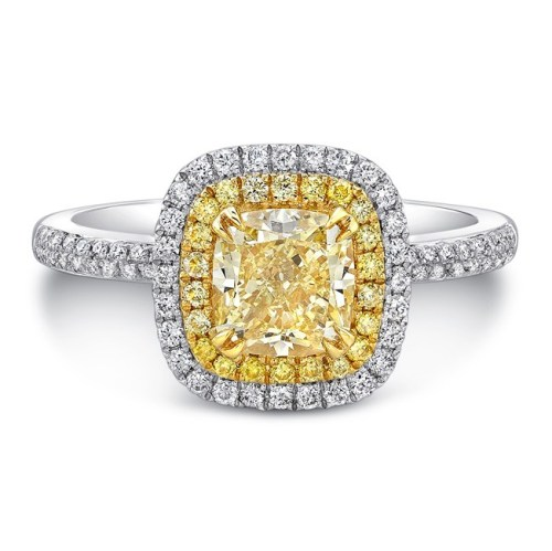 18K WHITE AND YELLOW GOLD YELLOW DIAMOND CENTER AND HALO ENGAGEMENT RING FM30887FY 18WY - 18K WHITE AND YELLOW GOLD YELLOW DIAMOND CENTER AND HALO ENGAGEMENT RING FM30887FY-18WY