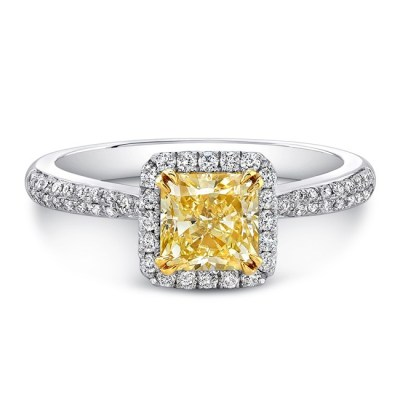 18K WHITE AND YELLOW GOLD YELLOW DIAMOND CENTER WHITE DIAMOND HALO ENGAGEMENT RING FM30880FY 18WY - 18K WHITE AND YELLOW GOLD YELLOW DIAMOND CENTER WHITE DIAMOND HALO ENGAGEMENT RING FM30880FY-18WY