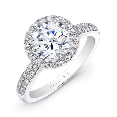 18K WHITE GOLD DIAMOND BAND BEZELSET ACCENT DIAMOND HALO ENGAGEMENT RING FM27158 18W - 18K WHITE GOLD DIAMOND BAND BEZELSET ACCENT DIAMOND HALO ENGAGEMENT RING FM27158-18W