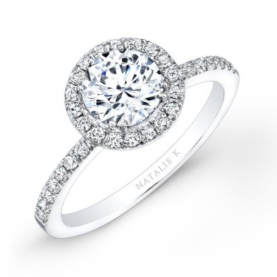 18K WHITE GOLD DIAMOND HALO ENGAGEMENT RING FM26914 18W - 18K WHITE GOLD DIAMOND HALO ENGAGEMENT RING FM26914-18W