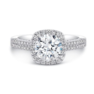 18K WHITE GOLD DIAMOND HALO SCALLOPED EDGE DIAMOND GALLERY ENGAGEMENT RING FM27022 18W - 18K WHITE GOLD DIAMOND HALO SCALLOPED EDGE DIAMOND GALLERY ENGAGEMENT RING FM27022-18W