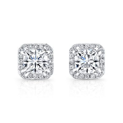 18K WHITE GOLD DIAMOND HALO STUDS FM26948 18W - 18K WHITE GOLD DIAMOND HALO STUDS FM26948-18W