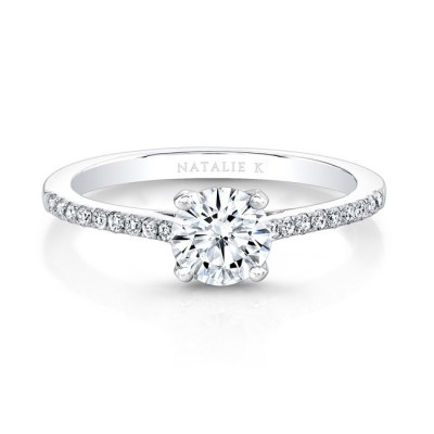 18K WHITE GOLD DIAMOND LINED BAND AND PRONG ENGAGEMENT RING FM26966 18W - 18K WHITE GOLD DIAMOND LINED BAND AND PRONG ENGAGEMENT RING FM26966-18W