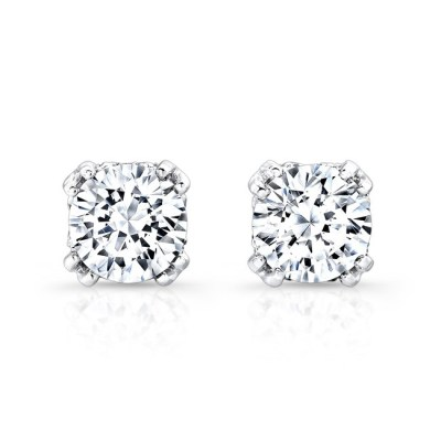 18K WHITE GOLD DIAMOND STUD EARRINGS FM27548 18W - 18K WHITE GOLD DIAMOND STUD EARRINGS FM27548-18W