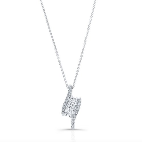 18K WHITE GOLD FOREVERMARK® IDEAL SQUARE DIAMOND 2 STONE PENDANT FM34234 18W - 18K WHITE GOLD FOREVERMARK® IDEAL SQUARE DIAMOND 2 STONE PENDANT FM34234-18W