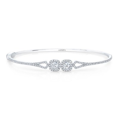 18K WHITE GOLD FOREVERMARK 2 STONE BANGLE FM34298 18W - 18K WHITE GOLD FOREVERMARK 2 STONE BANGLE FM34298-18W