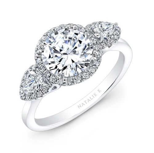 18K WHITE GOLD HALO THREE STONE DIAMOND ENGAGEMENT RING NK28372 18W - 18K WHITE GOLD HALO THREE STONE DIAMOND ENGAGEMENT RING NK28372-18W