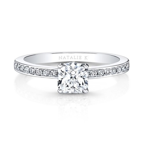18K WHITE GOLD MODERN SLEEK BAND ENGAGEMENT RING FM26915 18W - 18K WHITE GOLD MODERN SLEEK BAND ENGAGEMENT RING FM26915-18W