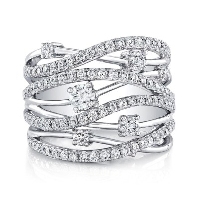 18K WHITE GOLD MULTIBAND DIAMOND FASHION BAND FM28917 18W - 18K WHITE GOLD MULTIBAND DIAMOND FASHION BAND FM28917-18W