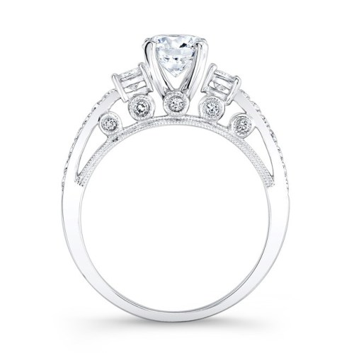 18K WHITE GOLD PAVE PRONG AND BEZEL ROUND DIAMOND ENGAGEMENT RING WITH SIDE STONES NK25815 18W 1 - 18K WHITE GOLD PAVE PRONG AND BEZEL ROUND DIAMOND ENGAGEMENT RING WITH SIDE STONES NK25815-18W