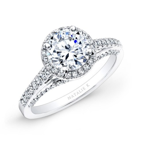 18K WHITE GOLD PRONG AND BEZEL HALO WHITE DIAMOND ENGAGEMENT RING NK25793 18W - 18K WHITE GOLD PRONG AND BEZEL HALO WHITE DIAMOND ENGAGEMENT RING NK25793-18W