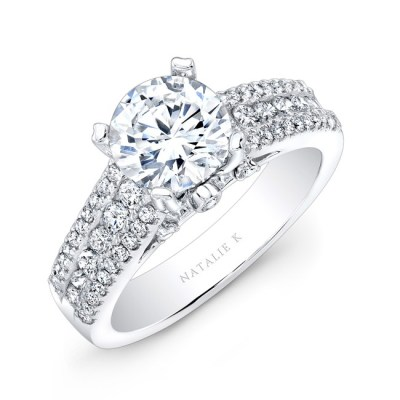 18K WHITE GOLD PRONG AND CHANNEL ROUND DIAMOND ENGAGEMENT RING NK19002 W - 18K WHITE GOLD PRONG AND CHANNEL ROUND DIAMOND ENGAGEMENT RING NK19002-W