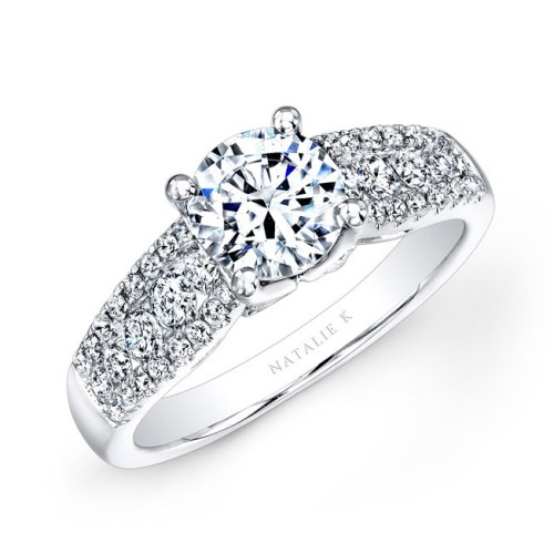 18K WHITE GOLD PRONG AND CHANNEL WHITE DIAMOND ENGAGEMENT RING NK23626 W - 18K WHITE GOLD PRONG AND CHANNEL WHITE DIAMOND ENGAGEMENT RING NK23626-W