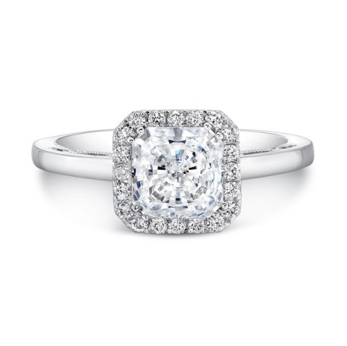 18K WHITE GOLD SCALLOPED DETAIL GALLERY DIAMOND HALO ENGAGEMENT RING FM27153 18W 1 - 18K WHITE GOLD SCALLOPED DETAIL GALLERY DIAMOND HALO ENGAGEMENT RING FM27153-18W