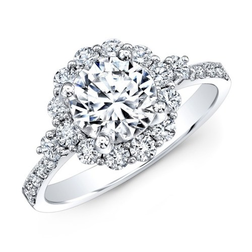 18K WHITE GOLD SINGLE PRONG DIAMOND HALO ENGAGEMENT RING WITH SIDE STONES NK29624 18W - 18K WHITE GOLD SINGLE PRONG DIAMOND HALO ENGAGEMENT RING WITH SIDE STONES NK29624-18W