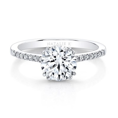18K WHITE GOLD SPLIT PRONG CENTER MOUNTING MILGRAIN GALLERY ENGAGEMENT RING FM26951 18W - 18K WHITE GOLD SPLIT PRONG CENTER MOUNTING MILGRAIN GALLERY ENGAGEMENT RING FM26951-18W