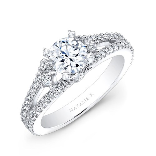 18K WHITE GOLD SPLIT SHANK PAVE DIAMOND SEMI MOUNT ENGAGEMENT RING WITH SIDE TRAPEZOID DIAMONDS NK23466 W - 18K WHITE GOLD SPLIT SHANK PAVE DIAMOND SEMI MOUNT ENGAGEMENT RING WITH SIDE TRAPEZOID DIAMONDS NK23466-W