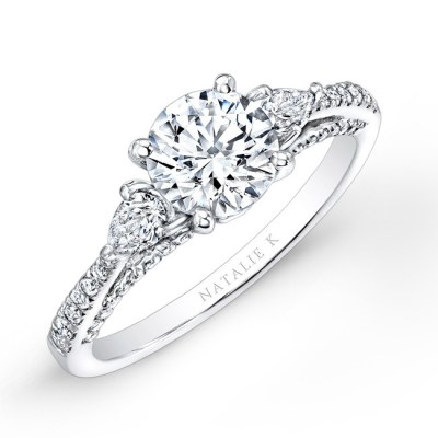 18K WHITE GOLD THREE STONE DIAMOND ENGAGEMENT RING WITH PEAR SHAPED SIDE STONES NK26627 18W - 18K WHITE GOLD THREE STONE DIAMOND ENGAGEMENT RING WITH PEAR SHAPED SIDE STONES NK26627-18W