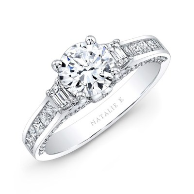 18K WHITE GOLD TRAPEZOID DIAMOND SIDE STONE PRINCESS CUT CHANNELSET SHANK ENGAGEMENT RING NK28716 18W - 18K WHITE GOLD TRAPEZOID DIAMOND SIDE STONE PRINCESS CUT CHANNELSET SHANK ENGAGEMENT RING NK28716-18W