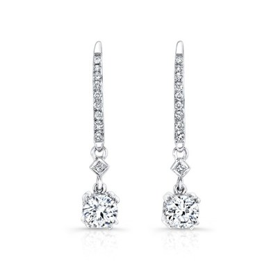 18K WHITE GOLD WHITE DIAMOND DROP EARRINGS FM27638 18W - 18K WHITE GOLD WHITE DIAMOND DROP EARRINGS FM27638-18W