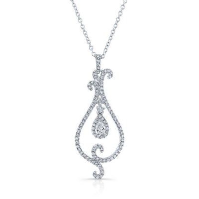 18K WHITE GOLD WHITE DIAMOND PEAR SHAPED CENTER SWIRLED PENDANT FM31537 18W - 18K WHITE GOLD WHITE DIAMOND PEAR SHAPED CENTER SWIRLED PENDANT FM31537-18W