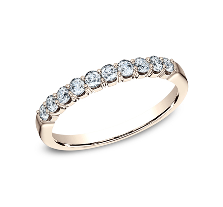 2.5MM ROSE GOLD CRESCENT SHARED PRONG DIAMOND BAND 5925344R - 2.5MM ROSE GOLD CRESCENT SHARED PRONG DIAMOND BAND  5925344R
