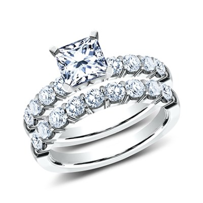 3MM WHITE GOLD CRESCENT SHARED PRONG ENGAGEMENT SET CSPA8 SCPSET W - 3MM WHITE GOLD CRESCENT SHARED PRONG ENGAGEMENT SET CSPA8-SCPSET-W
