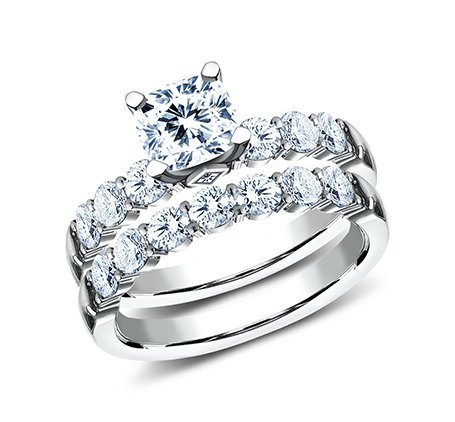 3MM WHITE GOLD SHARED PRONG ENGAGEMENT SET SPA11 ACSET W - 3MM WHITE GOLD SHARED PRONG ENGAGEMENT SET SPA11-ACSET-W