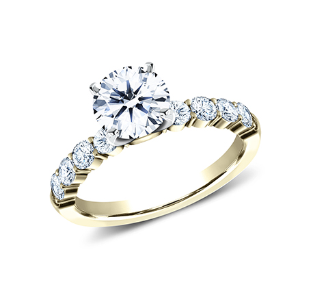 3MM YELLOW GOLD SHARED PRONG ENGAGEMENT RING SPA8 LHRD100 Y - 3MM YELLOW GOLD SHARED PRONG ENGAGEMENT RING SPA8-LHRD100-Y