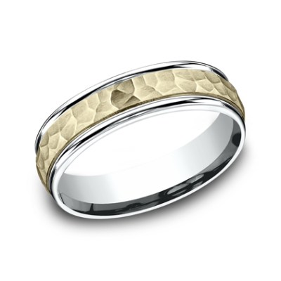 6MM TWO TONED CARVED DESIGN BAND CF176303 - 6MM TWO-TONED CARVED DESIGN BAND  CF176303