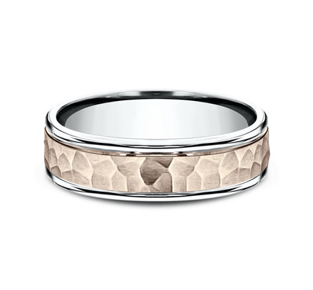 6MM TWO TONED CARVED DESIGN BAND CF216303 2 - 6MM TWO-TONED CARVED DESIGN BAND CF216303