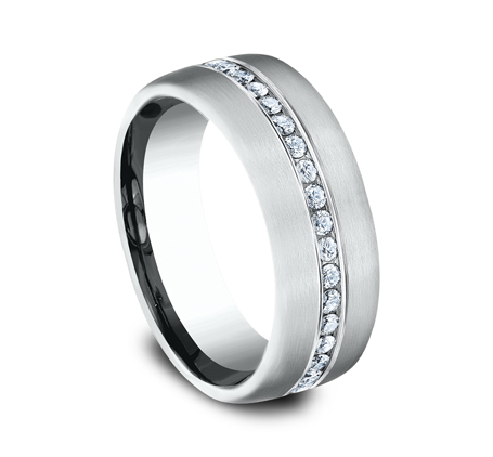 7.5MM WHITE GOLD SATIN FINISHED COMFORT FIT DIAMOND BAND CF717573W 1 - 7.5MM WHITE GOLD SATIN-FINISHED COMFORT-FIT DIAMOND BAND CF717573W