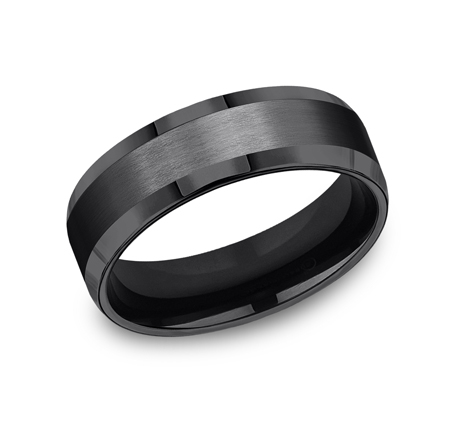 7MM BLACK TITANIUM COMFORT FIT SATIN FINISHED BAND CF67416BKT - 7MM BLACK TITANIUM COMFORT-FIT SATIN-FINISHED BAND CF67416BKT
