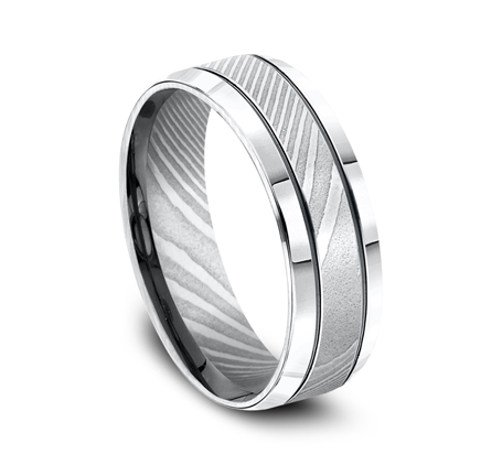 7MM HIGH POLISHED DAMASCUS STEEL BAND CF67675DS 1 - 7MM HIGH-POLISHED DAMASCUS STEEL BAND CF67675DS